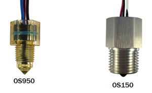 A labelled picture of two optical liquid level sensors from SMD Fluid Controls.