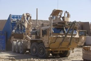 A piece of heavy machinery in Afghanistan.